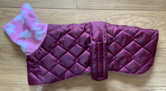 Greyhound and whippet waterproof winter quilted coats with a long fleece neck in a limited edition colour combination in wine & pink rabbits