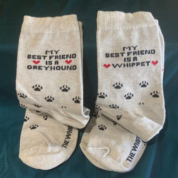 Greyhound and whippet socks. Christmas Eve gifts, secret Santa gifts