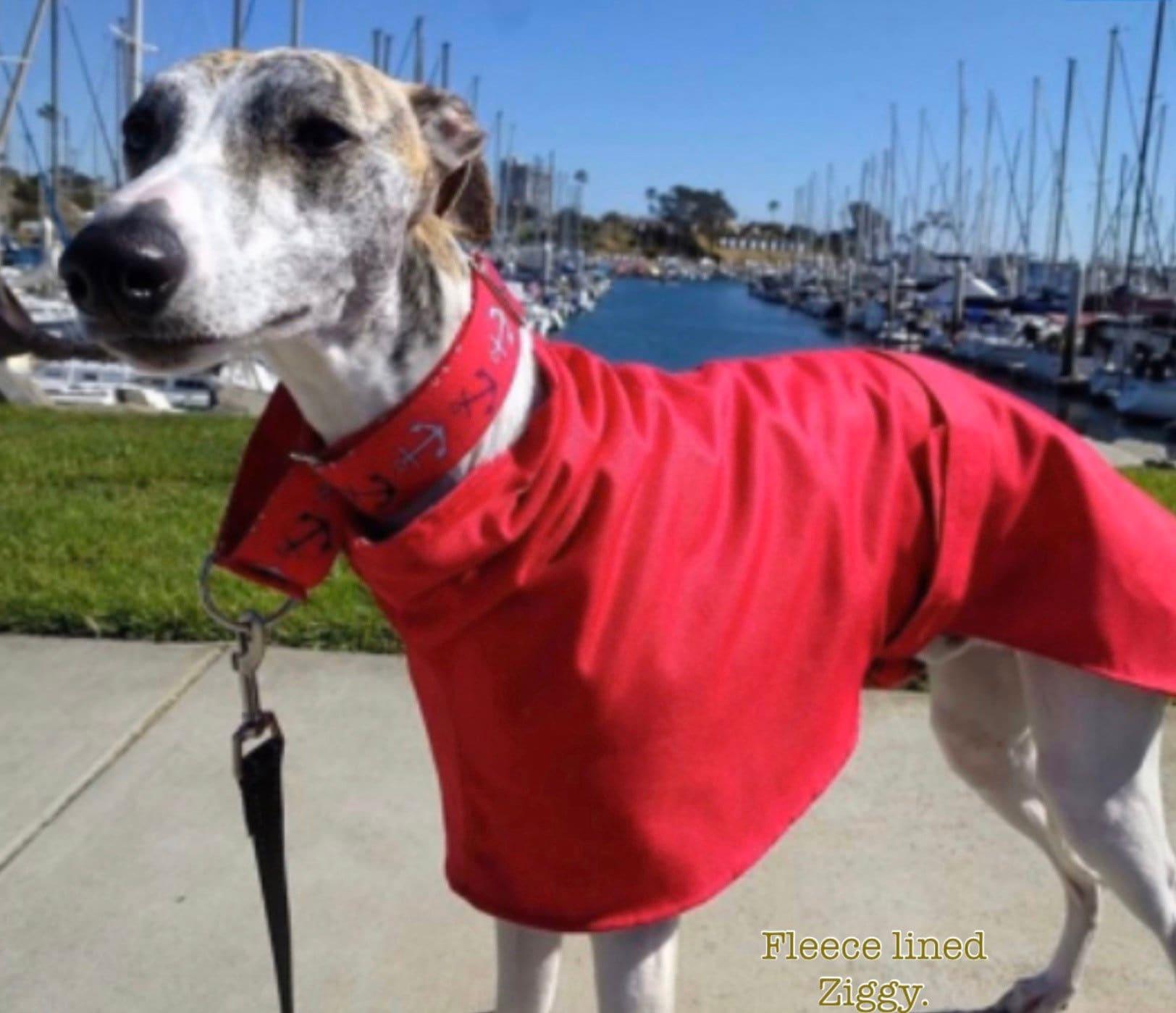BlueGum Design Grey or Black Polar Fleece Lining Greyhound Raincoat Blue Diamond Pattern Waterproof Ripstop