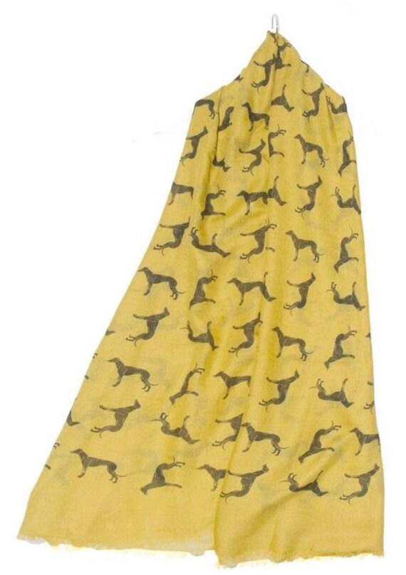 Ladies Greyhound ,whippet, Italian greyhound Dog Print frayed edge Scarf shawl wrap