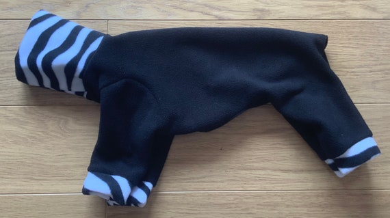 Italian greyhound clothing for winter, dog pyjamas, iggy fleece onesie black readymade