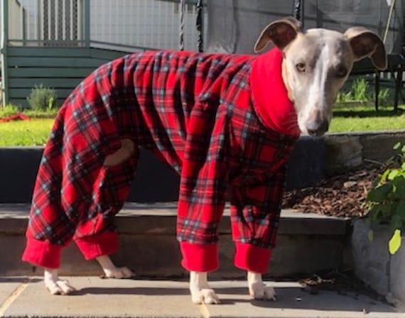 Italian greyhound - whippet pup fleece pyjamas