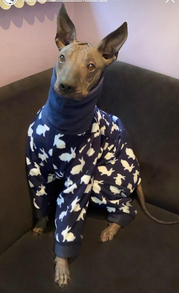 Greyhound Pyjamas, Greyhound Clothing, Greyhound Fleece Pjs,Whippet Clothing, whippet pyjamas , Italian Greyhound (rabbits pjs)