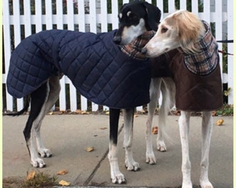 Greyhound ,saluki,lurcher waterproof winter quilted coats with a long fleece neck. Design your own coat