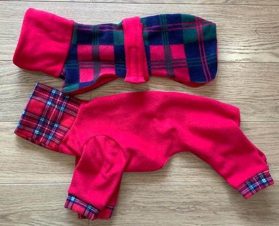 Whippet pup / Italian greyhound fleece coat and pyjamas set (on sale )