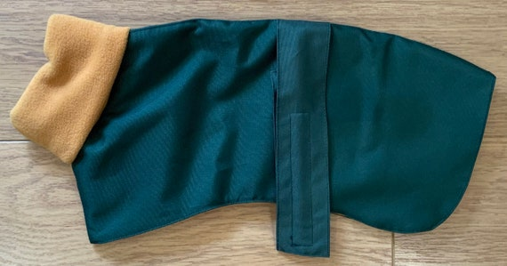 Greyhound Winter jackets,Whippet Coat,Waterproof Dog Coat,Whippet Jacket, (limited edition racing green and gold fleece)