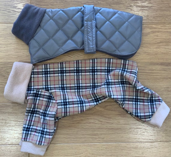 Italian greyhound winter coat and pyjamas set