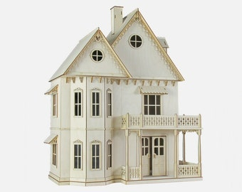 Gingerbread Victorian Dollhouse Kit, 1:12 Scale Doll House Kit, Journey's House of Dreams.  Heart motif, wood.
