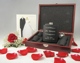 1 Personalized Groomsmen Gift Set, Wood Box, Engraved Flask Set, Stainless Steel Flask, Personalized Flask Best Man Gift
