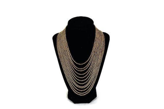 Vintage Ball Chain Necklace - Multi Strand Necklac