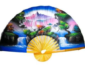 Vintage Large Asian Fan - Mid Century Oriental Decor, Asian Wall Decor, Large Oriental Fan Wall Decor, Asian Wall Decor
