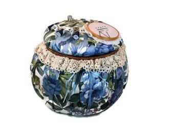 Vintage Sewing Basket - Handmade Floral Basket, Storage Basket, Sewing Basket, Craft Basket, Craft Storage Basket