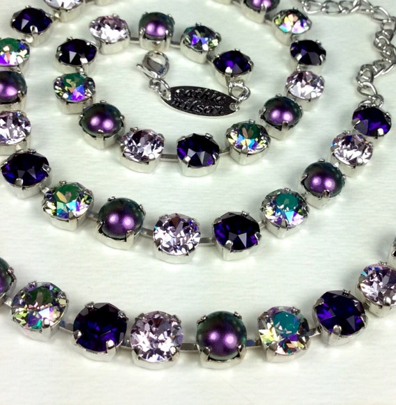 """Swarovski Crystal & Pearl 8.5mm Necklace   """"Tahitian Paradise"""" Gorgeous Shimmering Shades of Purples, Violet, Paradise Shine - FREE SHIPPING"""