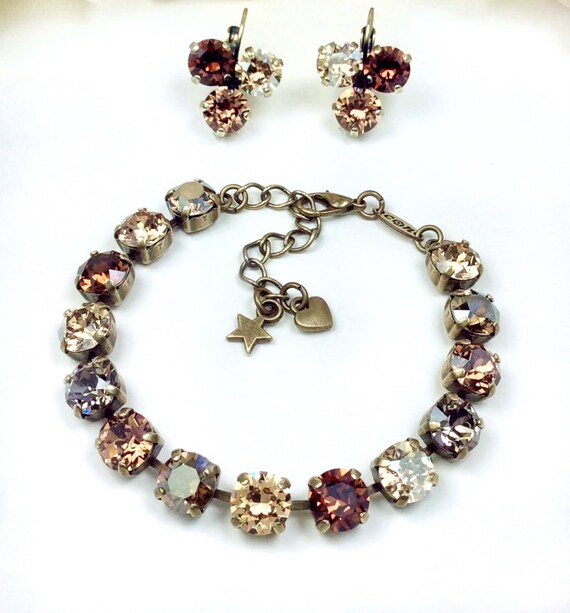 "Swarovski Crystal 8.5mm Bracelet & Earrings - ""Bronzey Browns"" - Neutral Browns, Greys, and Golden Hues -Designer Inspired - FREE SHIPPING"