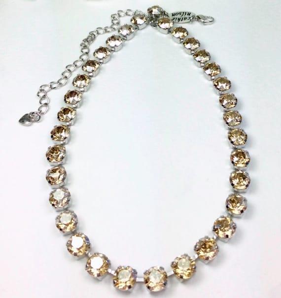 Swarovski Crystal 8.5mm Necklace    Sunny Golden Shadow Crystals   Designer Inspired - FREE SHIPPING