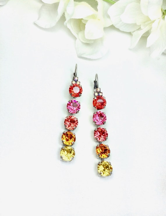 Swarovski Crystal 8.5mm FIVE Tier Earrings - Gorgeous Rainbow Colors or Your Own Custom Colors - Designer Inspired  - FREE SHIPPING