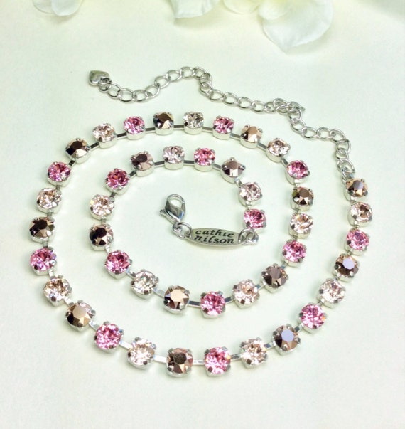 "Swarovski Crystal Necklace -  Designer Inspired -  Dainty 6mm "" Rosy Horizons"" Necklace - Great Bridesmaid Gift - FREE SHIPPING!"
