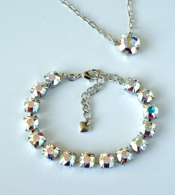 Swarovski Crystal 8.5mm Bracelet  - Gorgeous, Radiant and Iridescent Aurora Borealis - Beautiful!-  Designer Inspired - FREE SHIPPING
