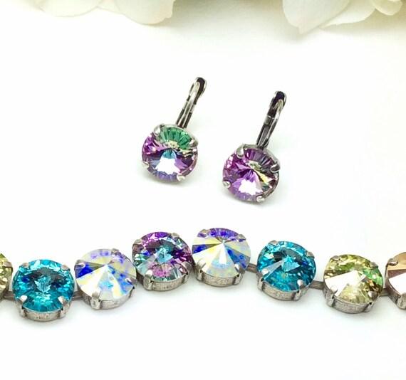 Swarovski Crystal 12MM Bracelet / Earrings  - Designer Inspired - Radiant & Mysterious - Shimmering Shades!  FREE SHIPPING