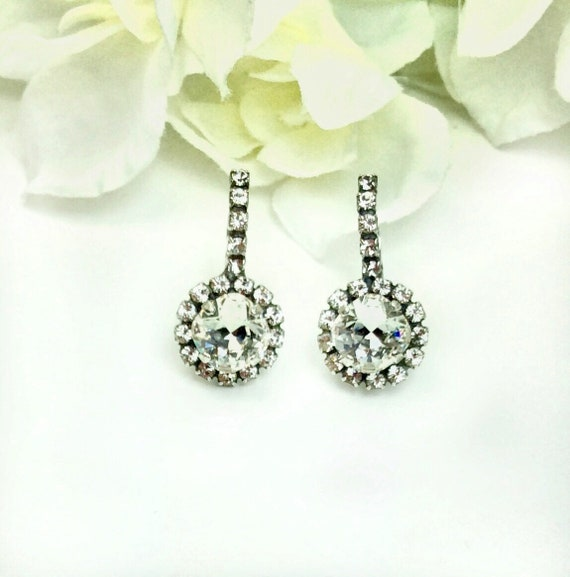 Swarovski Crystal 8MM Cushion Cut, Lever- Back Drop Earrings With Halo and Studded Ear Wire - Gorgeous Bridal Earrings  -  FREE SHIPPING