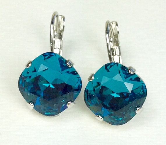 Swarovski Crystal 12MM Cushion Cut,  Lever- Back Drop Earrings -  Designer Inspired - Indicolite - On SALE - FREE SHIPPING
