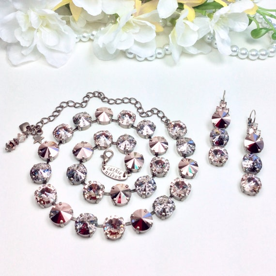 Swarovski Crystal 12MM Necklace  - Stunning Gorgeous Colors- Rose Gold, Rose Patina, & Lt. Silk - Designer Inspired  - FREE SHIPPING