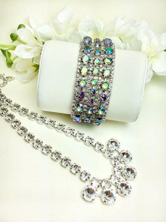 Swarovski Triple Row Paradise Shine & Crystal Bridal Cuff and  Goddess Necklace - Absolutely Stunning - Designer Inspired - FREE SHIPPING