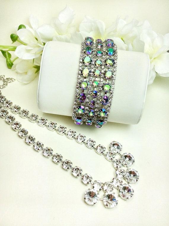 Swarovski Triple Row Paradise Shine & Crystal Bracelet - Absolutely Stunning Bridal Cuff -Designer Inspired - FREE SHIPPING