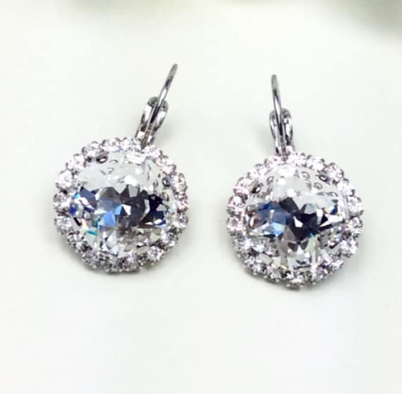 Swarovski Crystal 12MM Cushion Cut Lever- Back -Drop Earrings with Halo  Gorgeous Bridal Earrings - Crystal Clear SALE  35. -  FREE SHIPPING