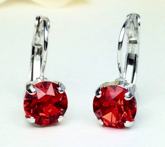 Swarovski Crystal 8.5mm Lever- Back Drop Earrings - Classy - Light Siam Red - OR Choose Your Favorite Color and Finish -  FREE SHIPPING