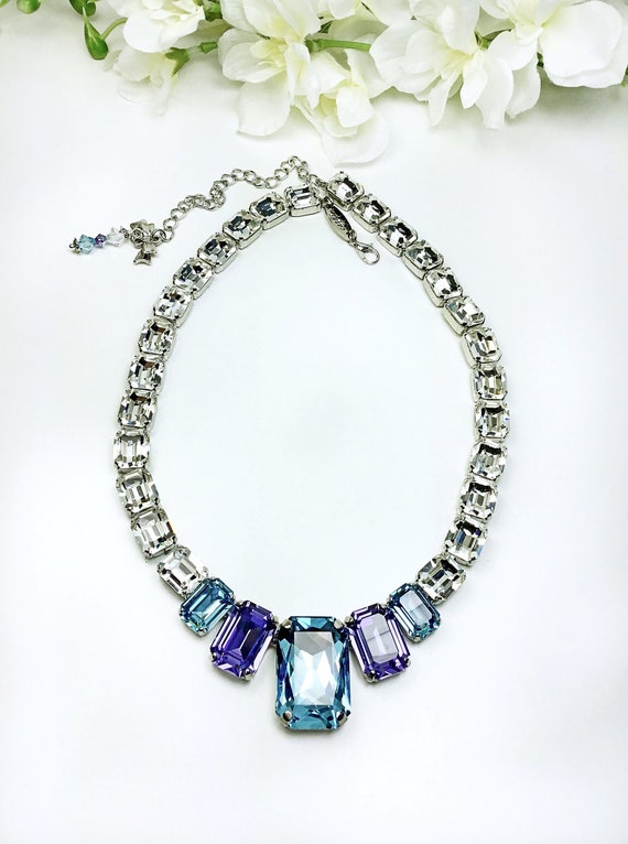 Swarovski Crystal Deco Style Necklace - Definite WOW! Factor - Designer Inspired - Sparkling and Stunning  - FREE SHIPPING