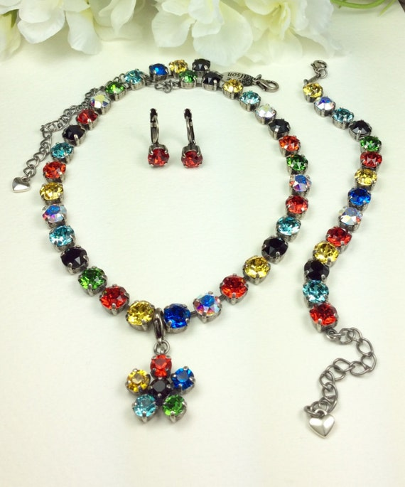 "Swarovski Crystal 8.5mm Necklace  ""Carnivale"" -  Bright Yellow, Reds, Blues and Green, Sparked With Jet - Designer Inspired - FREE SHIPPING"