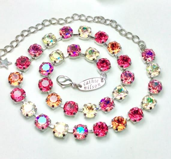 "Swarovski Crystal 8.5mm Necklace  - Designer Inspired- ""Tequila Sunrise""  Indian Pink,Jonquil AB, Rose Glacier Blue,Tangerine -FREE SHIPPING"