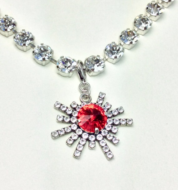 Swarovski Crystal - Designer Inspired - Gorgeous Snowflake Add - On Charm - Lt. Siam Red Your Choice of Crystal Color - FREE SHIPPING