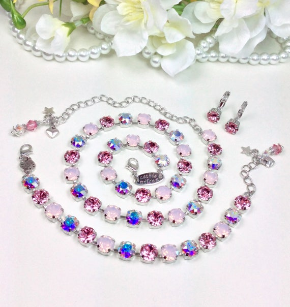"Swarovski Crystal 8.5mm Necklace,Bracelet,Earrings & Pendant - Designer Inspired  - "" Pink Pastels with Aurora Borealis "" FREE SHIPPING"