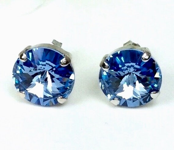 Swarovski Crystal 2PAIR of 12MM Stud Earrings for 33! - Classy- Special Sale - Choose Your Favorite Color and Finish - FREE SHIPPING