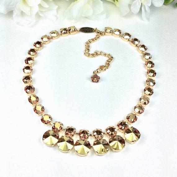 "Swarovski Crystal 12MM/8.5mm Necklace - Designer Inspired  -""Golden Goddess"" - Stunning & Classy - Crystal Metallic Sunshine - FREE SHIPPING"