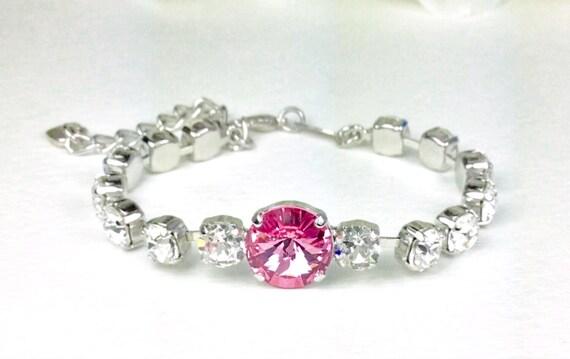Swarovski Crystal 12MM & 6mm Bracelet - Lt. Rose and Crystal Clear -  Designer Inspired - Price Slashed - 25. - FREE SHIPPING