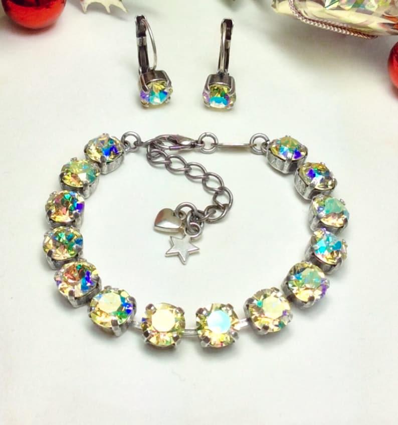 41d1fce4f9087 Swarovski Crystal 8.5mm Bracelet & Earring Set - 8.5mm Jonquil AB Shimmer  Bracelet and Earrings Designer Inspired - Sale - FREE SHIPPING