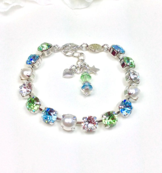 Swarovski Crystal 8.5mm Mother's Bracelet With Pearls  - Beautiful Mother's Day Gift!  Your Kids or GrandKids Birthstones - FREE SHIPPING