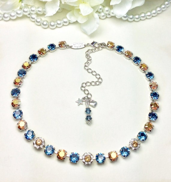 Swarovski Crystal 8.5mm Necklace  - Designer Inspired - Denim Blue and Gold  (Metallic Sunshine) with Flowers   Beautiful! -FREE SHIPPING