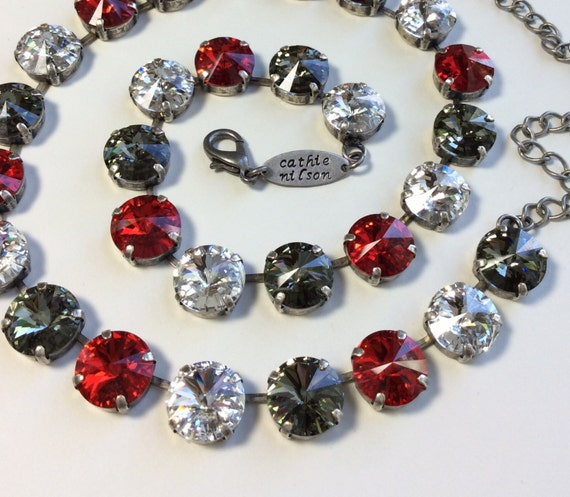 Swarovski Crystal 12MM Necklace - Silver Night, Clear Crystal, Light Siam Red  - Designer Inspired -  Shimmer & Sparkle -  FREE SHIPPING