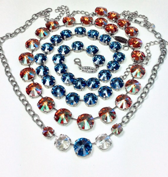 Swarovski 14MM Crystal Copper Necklace  - Designer Inspired - Paired With  12MM Denim Blue Necklace, 5 Stone Pendant- SALE!   FREE SHIPPING