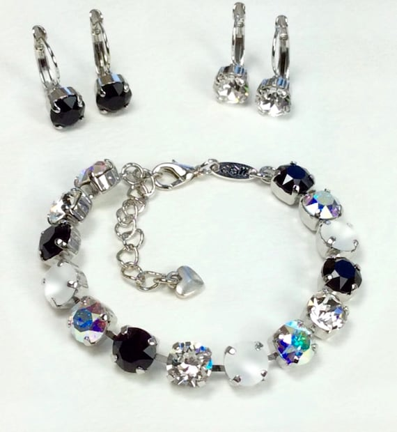 Swarovski Crystal 8.5mm Bracelet & Earrings -  Jet, AB, Radiant Crystal Clear, and Glowing White Matte -Designer Inspired - FREE SHIPPING