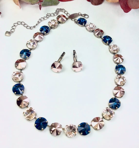 Swarovski Crystal 12MM Necklace  - Designer Inspired - Navy, Champagne, & Rose Gold - Sophisticated Fall Shades-  FREE SHIPPING