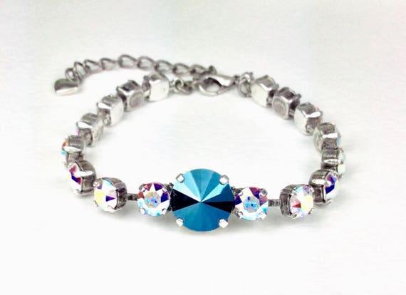 Swarovski Crystal 12MM & 6MM Bracelet - Designer Inspired - Metallic Blue / Aurora Borealis - Stunning - Price Slashed - 25. - FREE SHIPPING