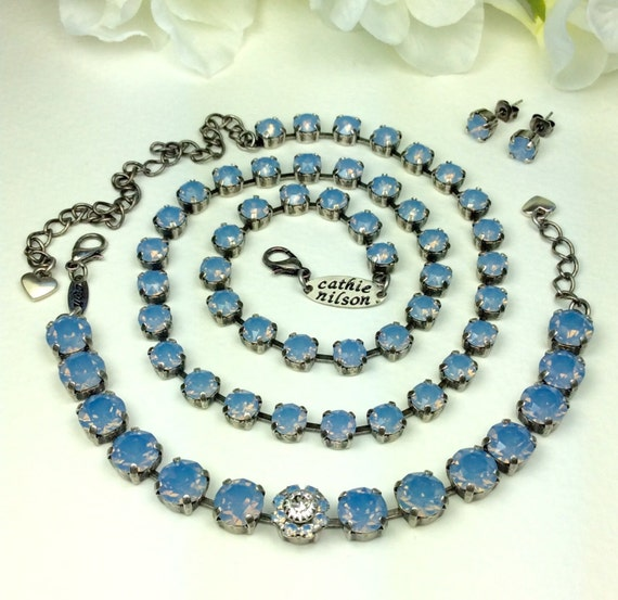 Swarovski 6mm Crystal Necklace and 8.5mm Bracelet -  Designer Inspired -  Beautiful Air Blue Opal -  Bridesmaid Gift
