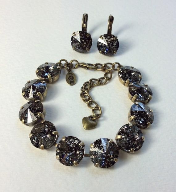 "Swarovski Crystal 12MM Bracelet / Earrings  -  Designer Inspired - "" Black Patina "" Stormy & Sexy Sophistication - FREE SHIPPING"