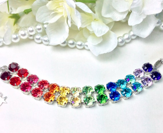 "Swarovski Crystal 8.5mm ""Double Rainbow"" Bracelet - Two Rows of Beautiful Rainbow Colors - Designer Inspired - FREE SHIPPING"