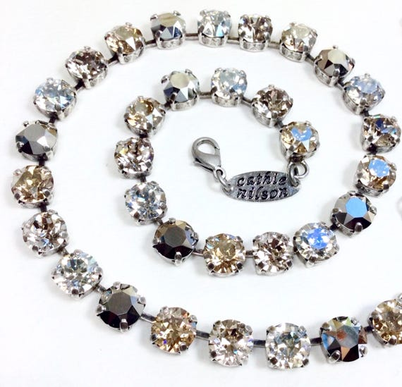 """Swarovski Crystal 8.5mm Necklace  - """"Blonde Neutrals""""  - Sophisticated Silvery Champagne Beauty - Designer Inspired - FREE SHIPPING"""
